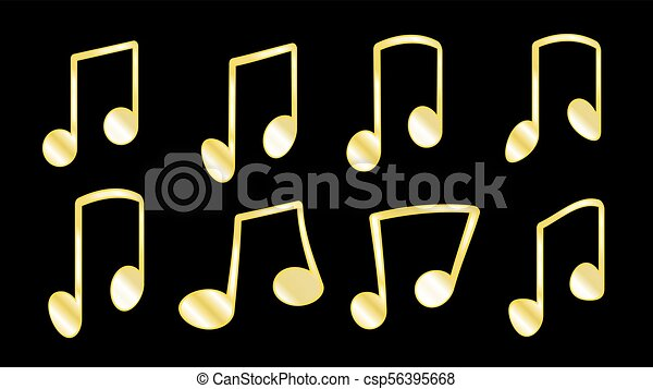 illustrazione, dorato, barre, set, grasso, aggrottare, note, linee, dentro, quando, giallo, musicale, icons., fondo, nero, collegare, 8, raggruppamento, vettore, o, costole - csp56395668
