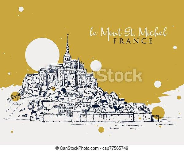 illustrazione, mont santo michel, schizzo, disegno, le - csp77565749