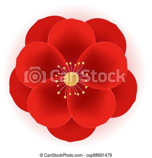 illustrazione, rosso, realistico, fiore, vettore, icon., 3d, eps10 - csp88691479