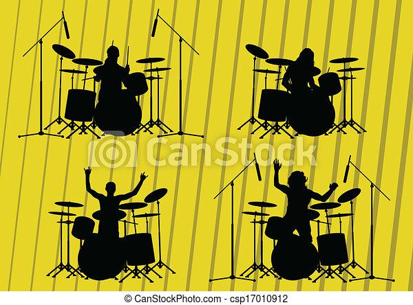 illustrazione, silhouette, musicisti, collezione, fondo, roccia - csp17010912