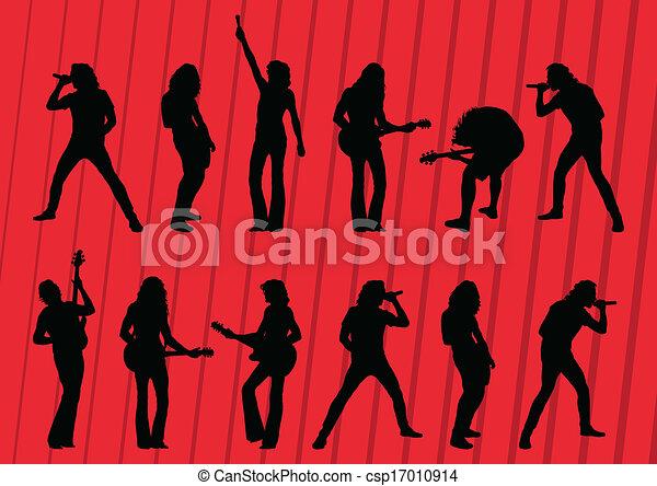 illustrazione, silhouette, musicisti, collezione, fondo, roccia - csp17010914