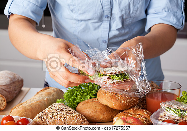 imballaggio, panino, saporito - csp17275357