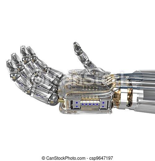 immaginario, oggetto, robot, tenendo mano - csp9647197