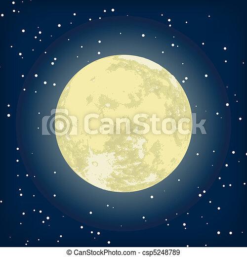 immagine, eps, luna, vettore, 8, night. - csp5248789