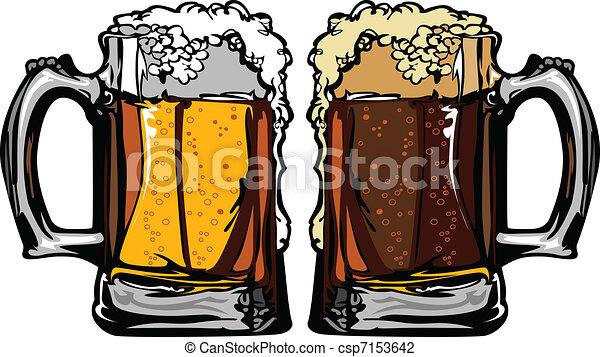 immagine, o, tazze, vettore, birra, radice - csp7153642