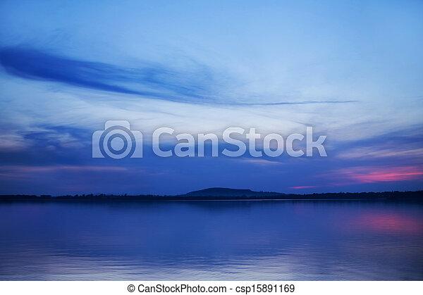 immagine, sopra, arte, lago, tramonto - csp15891169