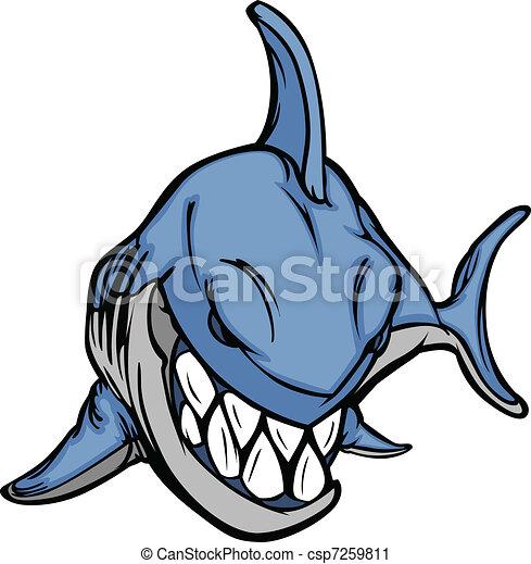 immagine, vettore, mascotte, cartone animato, squalo - csp7259811