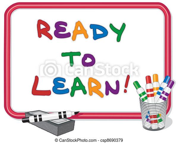 imparare, pronto, whiteboard - csp8690379