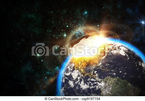 impatto, asteroide, scena, spazio - csp9197154