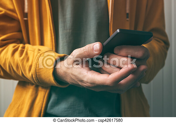 impronta digitale, smartphone, sensore, sbloccando, scansione - csp42617580