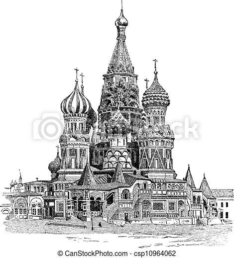 incisione, basil's, santo, vendemmia, mosca, cattedrale, russia - csp10964062