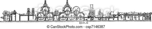 incisione, macchina, fourdrinier, vendemmia - csp7146387