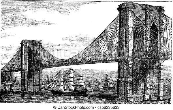 incisione, ponte, unito, vendemmia, states., illustrazione, fiume, brooklyn, new york, est, 1890s - csp6235633