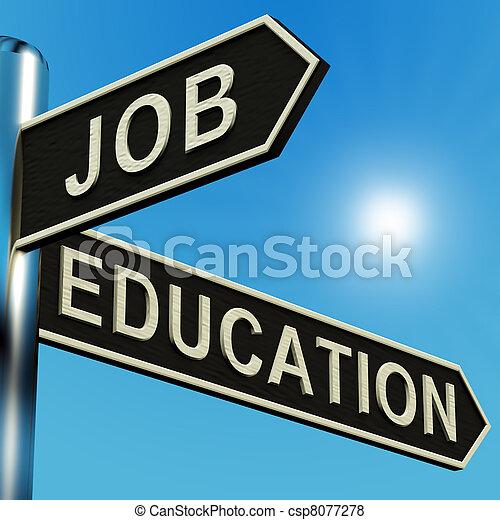 indicazione, signpost, lavoro, educazione, o - csp8077278