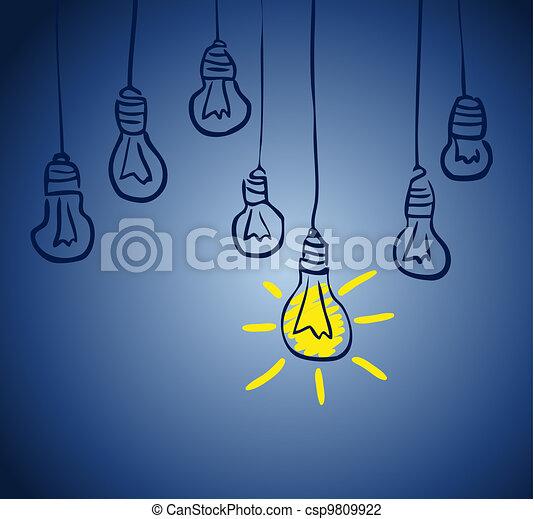 innovativo, lamp., concetto, idea - csp9809922