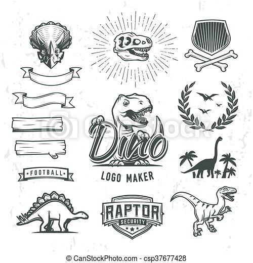 insegne, concetto, scudo, dino, periodo, logotipo, alloro, template., design., giurassico, set., logotype, cretaceous, etichetta, cresta, fabbricante, mondo, bandiera, illustration., creator., distintivo, t-rex, dinosauro, vettore, collection., o - csp37677428