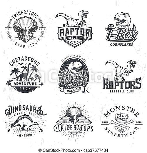 insegne, set, logos., giurassico, cranio, dino, vendemmia, concetto, periodo, illustrazione, t-rex, t-shirt, fondo., badge., squadra, grunge, sport, raptors, design. - csp37677434