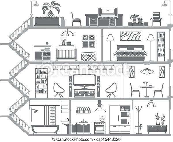 interno, casa, vettore, illustrazione, silhouette. - csp15443220