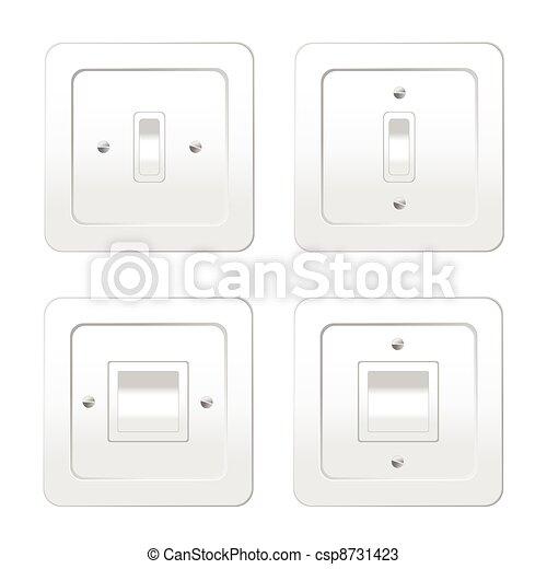 interruttori, luce, vettore, illustrazione, quattro - csp8731423
