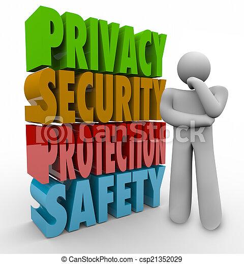 intimità, pensatore, sicurezza protezione, parole, sicurezza, 3d - csp21352029