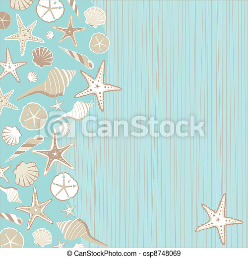 invito, seashell, festa, spiaggia - csp8748069