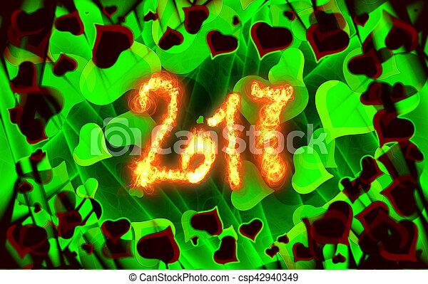 iscrizione, pieno, amore, fuoco, astratto, scritto, valentina, giorno, s, hearts., fondo, 2017, cornice, scheda - csp42940349