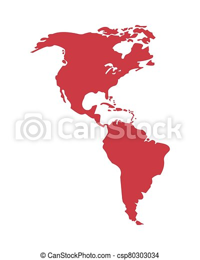 isolato, icona, americano, mappa, continente - csp80303034