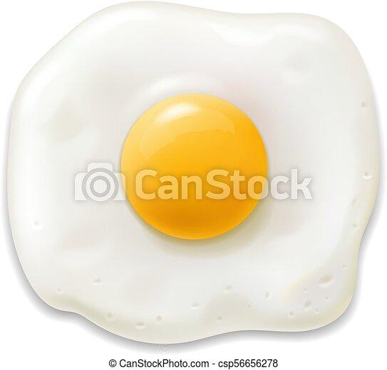 isolato, illustrazione, realistico, strapazzato, vettore, icon., uovo fritto, 3d - csp56656278