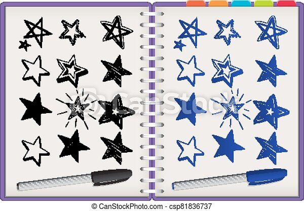 isolato, molti, stelle, quaderno, viola, sfondo bianco - csp81836737