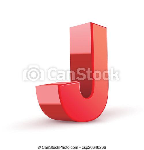 j, rosso, lettera, 3d - csp20648266