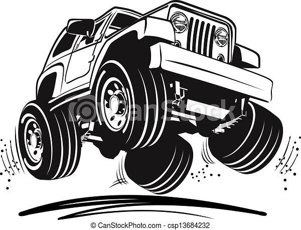 jeep, cartone animato - csp13684232