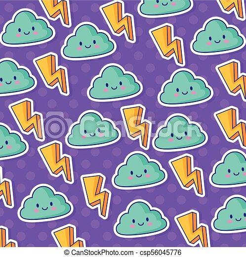kawaii, illuminazione, nubi, bulloni, fondo - csp56045776