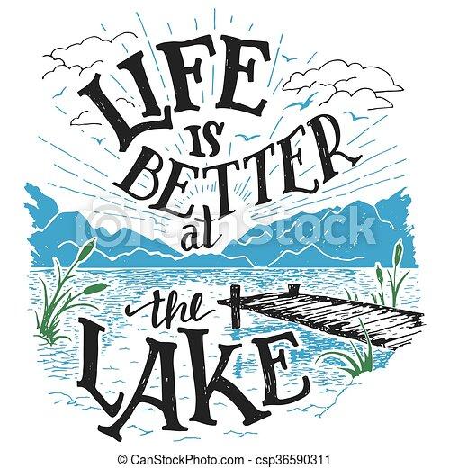 lago, hand-lettering, meglio, segno, vita - csp36590311