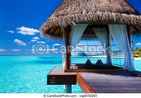 laguna, tropicale, terme, overwater, bungalow - csp8750291