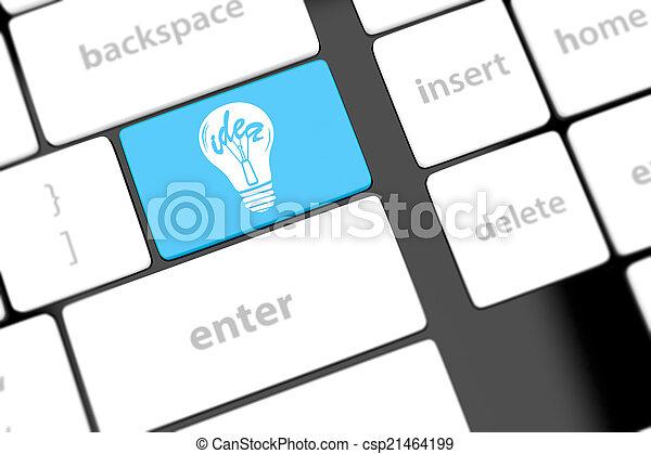 lampada, chiave calcolatore, tastiera - csp21464199
