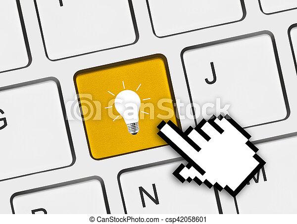 lampada, chiave calcolatore, tastiera - csp42058601