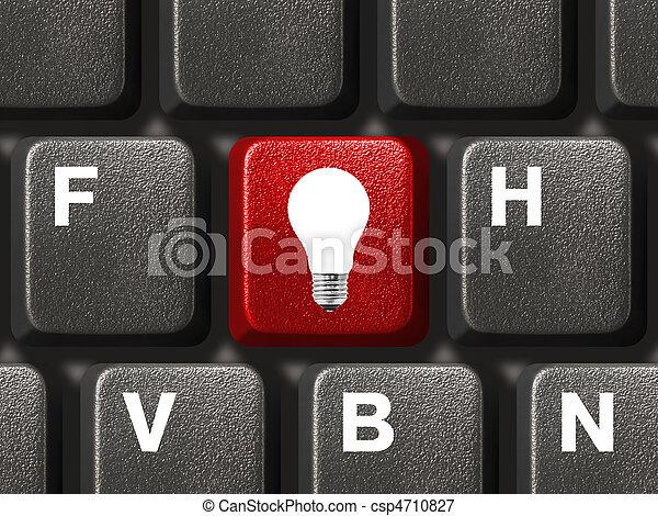 lampada, chiave calcolatore, tastiera - csp4710827