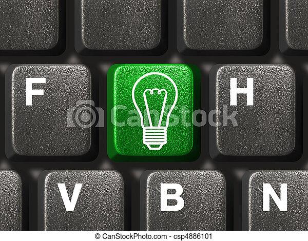 lampada, chiave calcolatore, tastiera - csp4886101