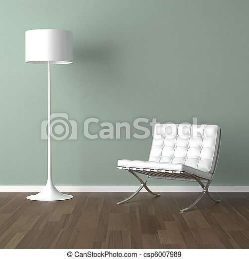 lampada, sedia, verde bianco, barcellona - csp6007989