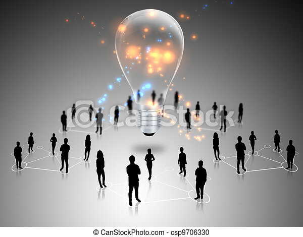 lampadine, lavoro squadra, idea, luce - csp9706330