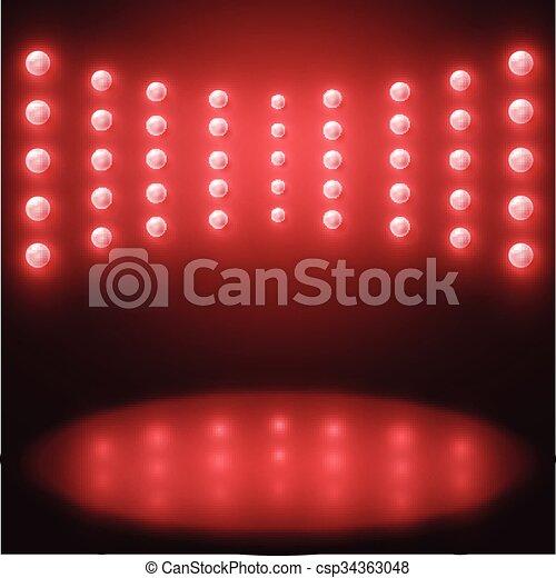 lampadine, luce, vettore, illuminazione, fondo, rosso, palcoscenico - csp34363048