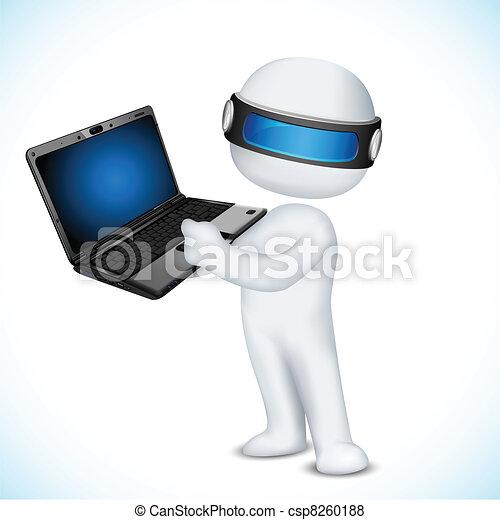 laptop, vettore, uomo, 3d - csp8260188