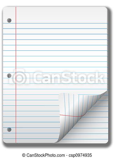 largo, &, quaderno, pagine, carta, fondo, riccio, pagina, governato - csp0974935