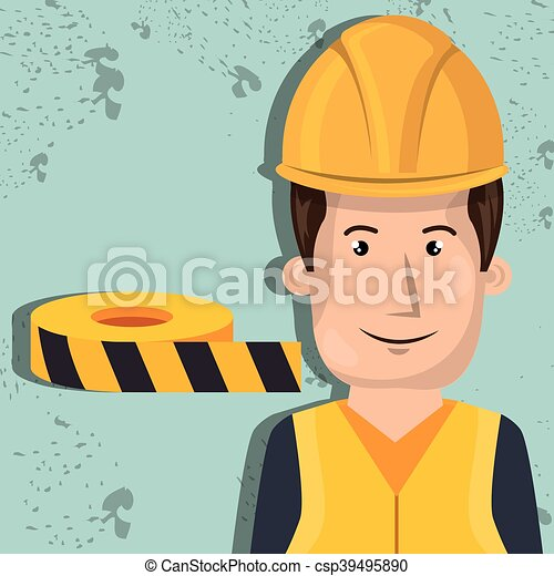 lavoratore, protezione, attrezzi, uomo, icona - csp39495890