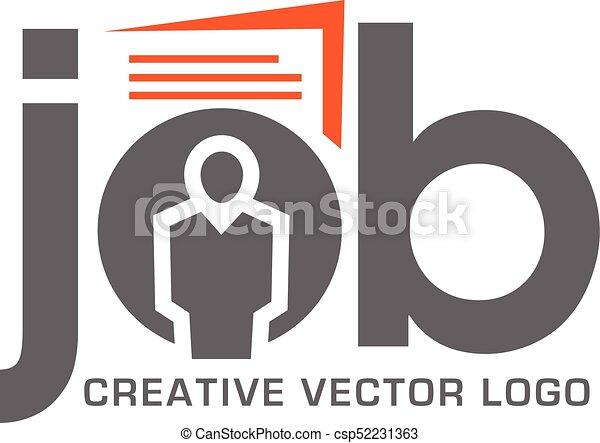 lavoro, logotipo, ricerca, domanda - csp52231363