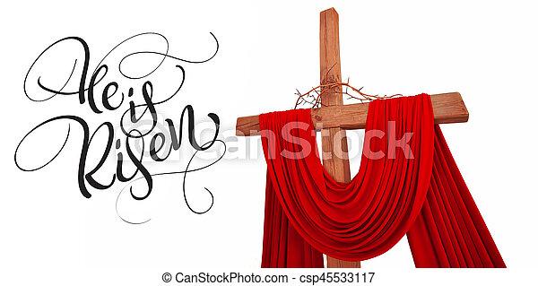 legno, calligrafia, croce, testo, spine, cristiano, risen., lui, iscrizione, corona - csp45533117