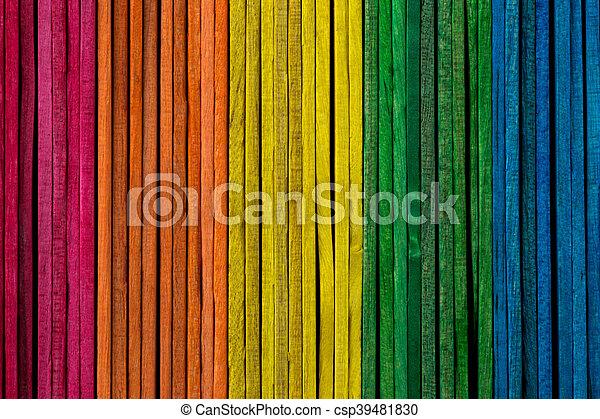 legno, colorato, accatastato, appiccicare, lato - csp39481830