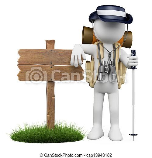 legno, persone., segno, escursionista, bianco, 3d - csp13943182