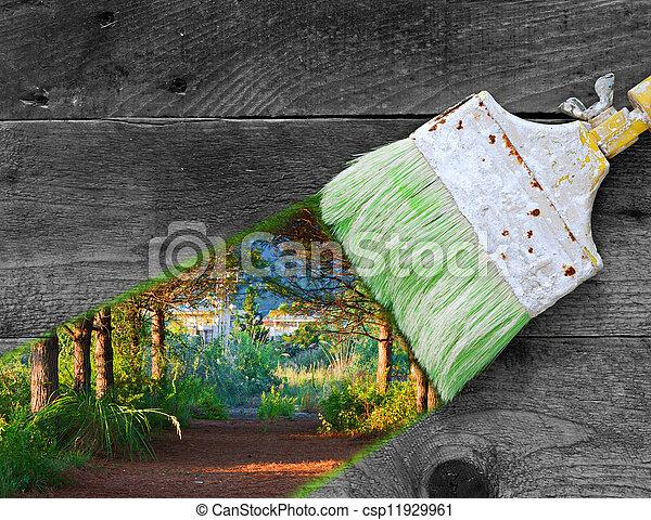 legno, pittura, vecchio, assi, natura - csp11929961