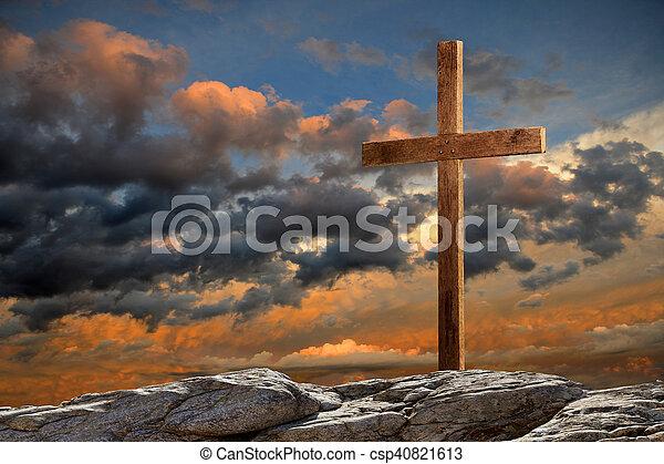legno, tramonto, croce - csp40821613